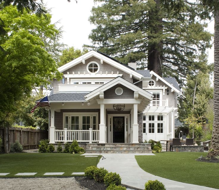 Craftsman charm. shingles,stone stairs