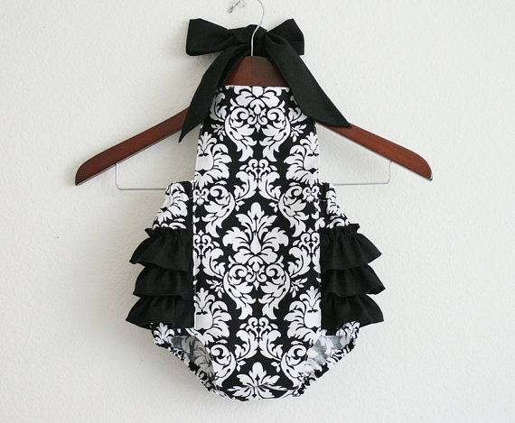 Black and White Damask Retro Style Sunsuit. $40 http://www.etsy.com/listing/93450242/black-and-white-damask-retro-style