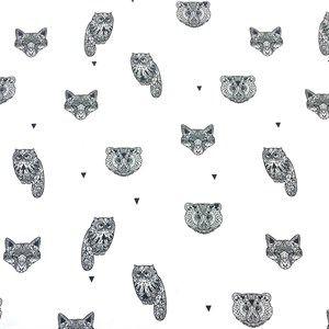 Isoli med print af bjørne, ugler, ræve på hvid bund - Citystoffer
