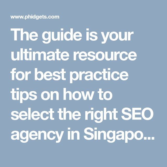 The guide is your ultimate resource for best practice tips on how to select the right SEO agency in Singapore, maintain a strong working relationship.  For more information visit: http://metabizverse.com/ultimate-guide-hiring-managing-seo-agency-singapore/