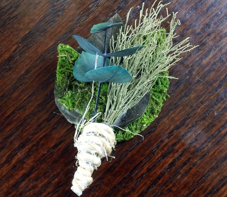 All Natural Mossy Green Boutonniere Corsage. $10.00, via Etsy.