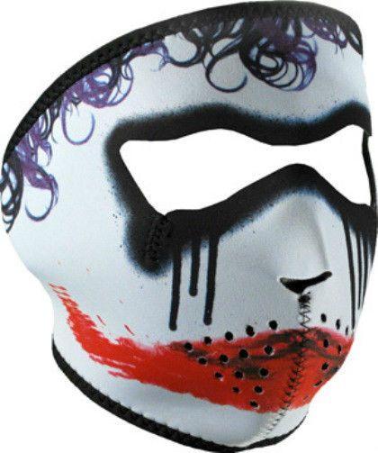 Trickster Sad Scary Clown Neoprene Face Mask Joker Batman Look Biker Ski Costume #zanheadgear #facemask