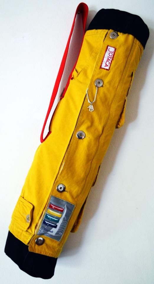 Yellow Gear Bag 2014 Made by JOTACA Boat coat and corduroy pants up cycled into a outdoor/gear/yoga bag.