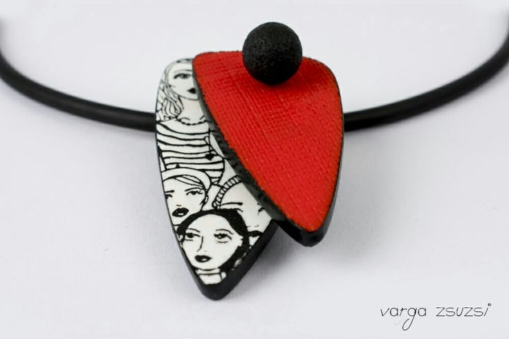 Polymer clay faces pendant  Süthető gyurma medál arcokkal   Cernit, MOIKO silkscreen  #cernit#moiko#red#white#black#silkscreen