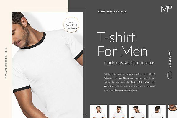 Download Men T Shirt Mockups Set Free Demo Mens Tshirts Shirt Mockup Personalized T Shirts