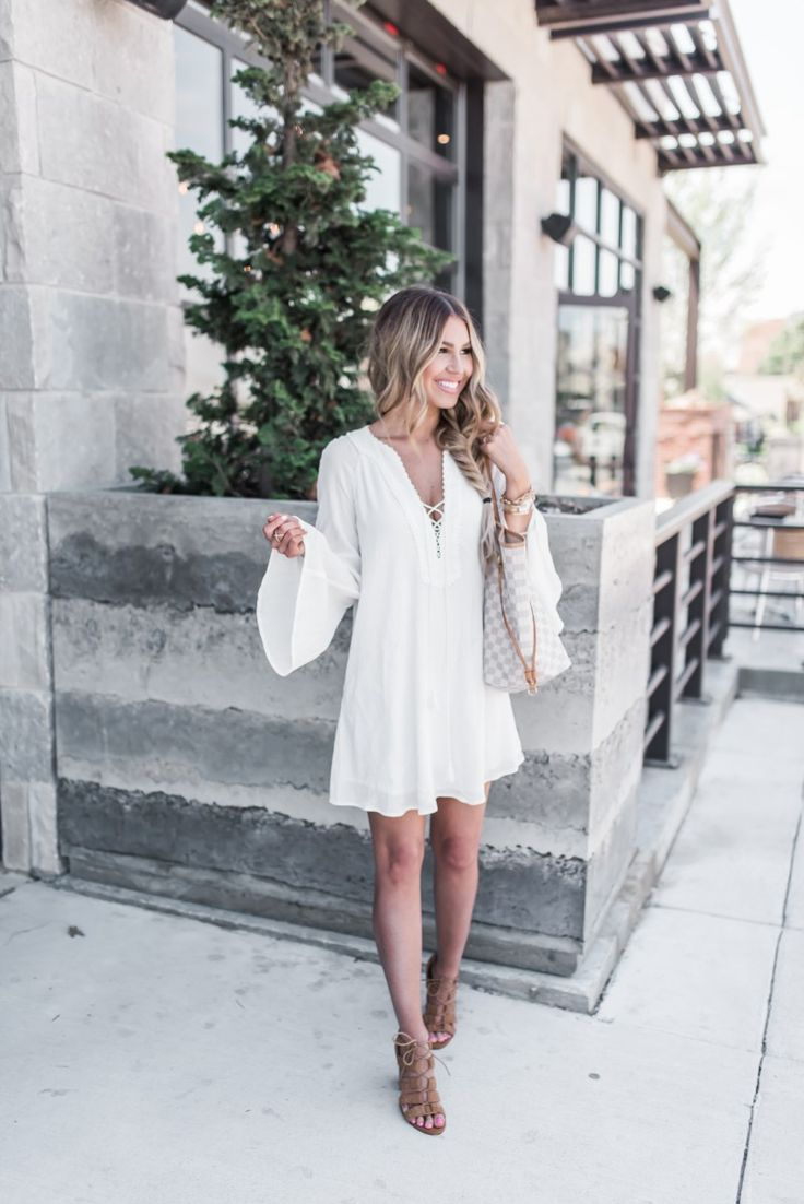 White Tunic Dress and Braided Sandals (on SALE)