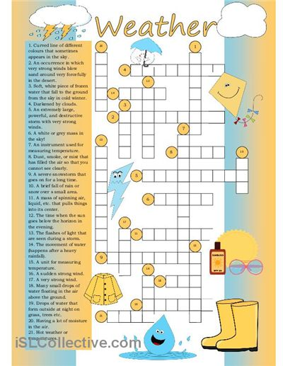 Crossword on weather vocabulary.