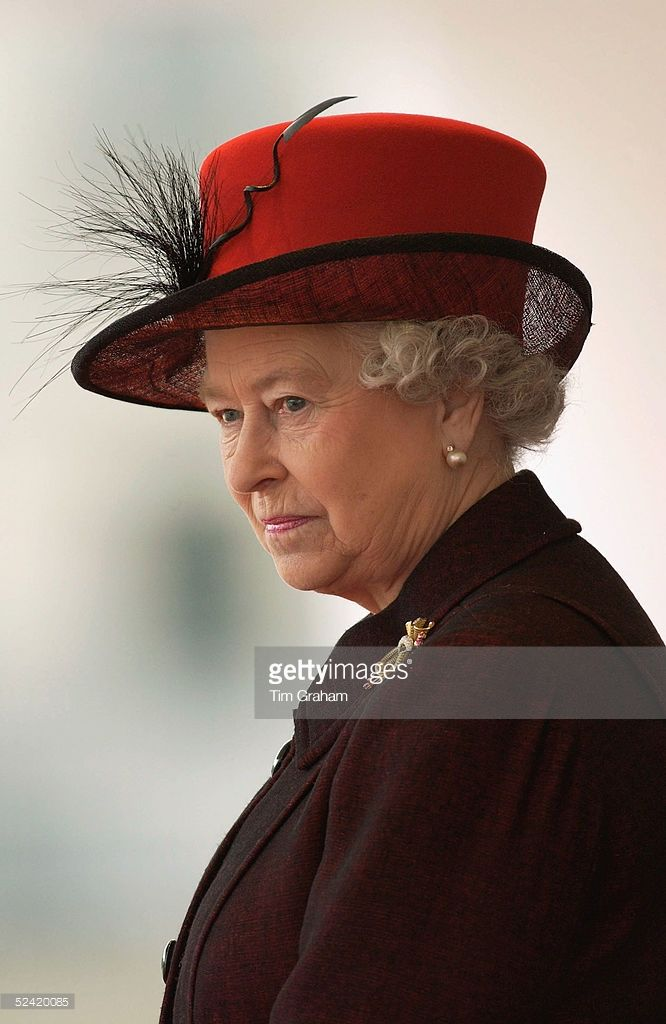Queen Elizabeth II loks on during the welcoming ceremony for the President of the Italian Republic, Carlo Azeglio Ciampi, and his wife, Signora Ciampi, during their state visit to the UK, at Horse Guards Parade on March 15, 2005 in London, England.