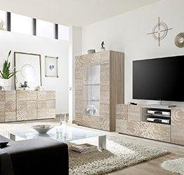 Sala completa di base porta tv, madia 3 ante e vetrina in rovere serigrafato