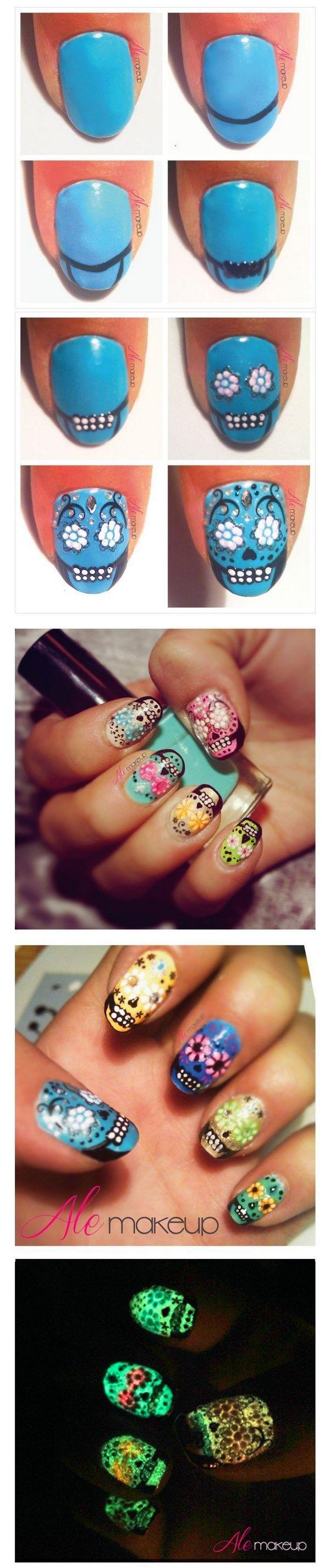como hacer uñas con calaveras