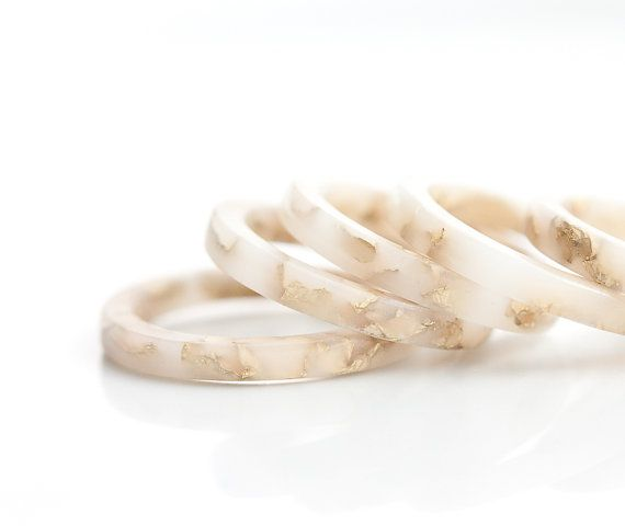 handmade Resin Stacking Ring in White/Ivory with Gold Flakes, $34.97