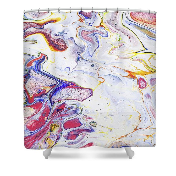 """Colorful Night Dreams 6. Abstract Fluid Acrylic Painting Shower Curtain by Jenny Rainbow.  This shower curtain is made from 100% polyester fabric and includes 12 holes at the top of the curtain for simple hanging.  The total dimensions of the shower curtain are 71"""" wide x 74"""" tall."""