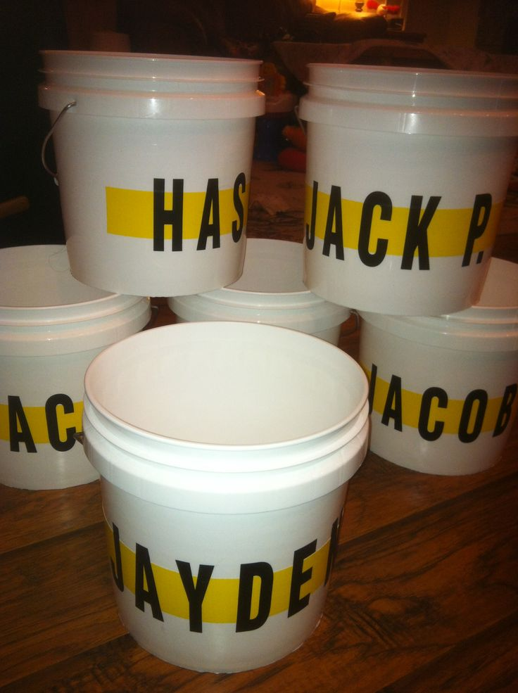 T-Ball buckets!  Personalize small buckets to hold snacks, hats, gloves and other gear.  Line these up in batting order in the dugout to let kids know where to sit and to keep things organized.  They are easy to carry and the kids love them!