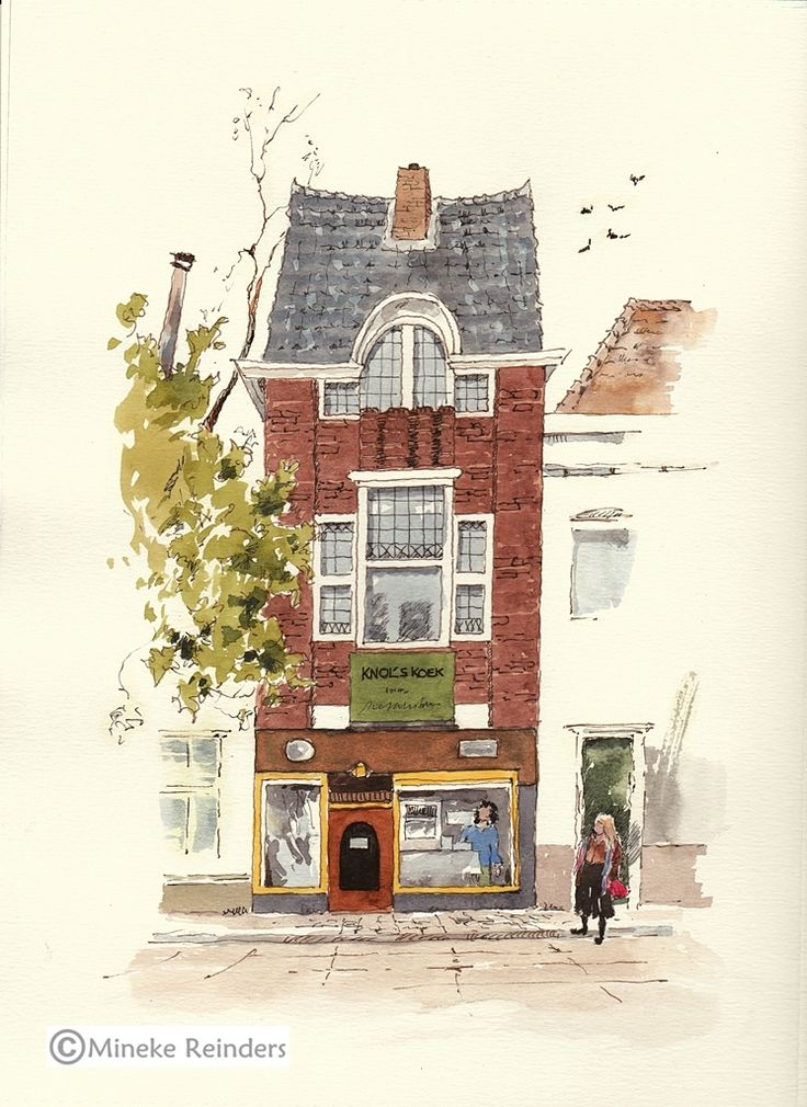 Knol's Koek is a specialized bakery in Groningen where they make different varieties of Groninger Koek. If you don't know what koek is, take a look at the bakery's websiteand click on the names under 'Assortiment' to see pictures of different kinds of koek.   #architecture #art #daily practice #drawing #groningen #ink #inktober2017 #knol's koek #watercolor