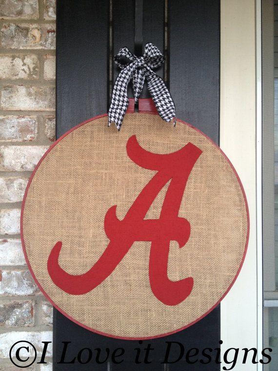 Make Burlap Door Hanger | Alabama Burlap Door Hanger by ILoveItDesigns on Etsy
