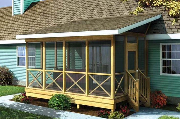 ... Screened In Porch Plan Provides A Shaded, Insect Free Place To Relax  And Entertain Outdoors. A Pitch Roof Attaches To The Side Or Roof Of The  House.