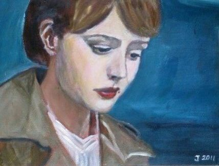 "Making a name for herself on the international film scene: Carey Mulligan, here in ""Never let me go"". Acrylic on paper"