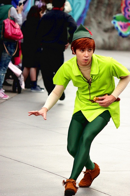 Peter Pan costume: dark green leotard; moccasins; green ...