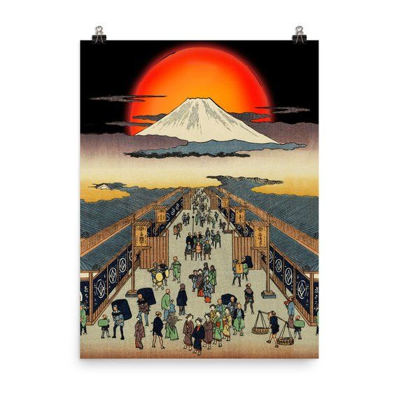 Rising Sun At Edo Japan Market And Mount Fuji Wall Arts Etsy Etsy Wall Art Mount Fuji Edo