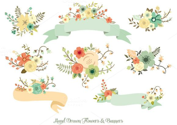 Check out Hand Drawn Flowers & Banners by Delagrafica on Creative Market