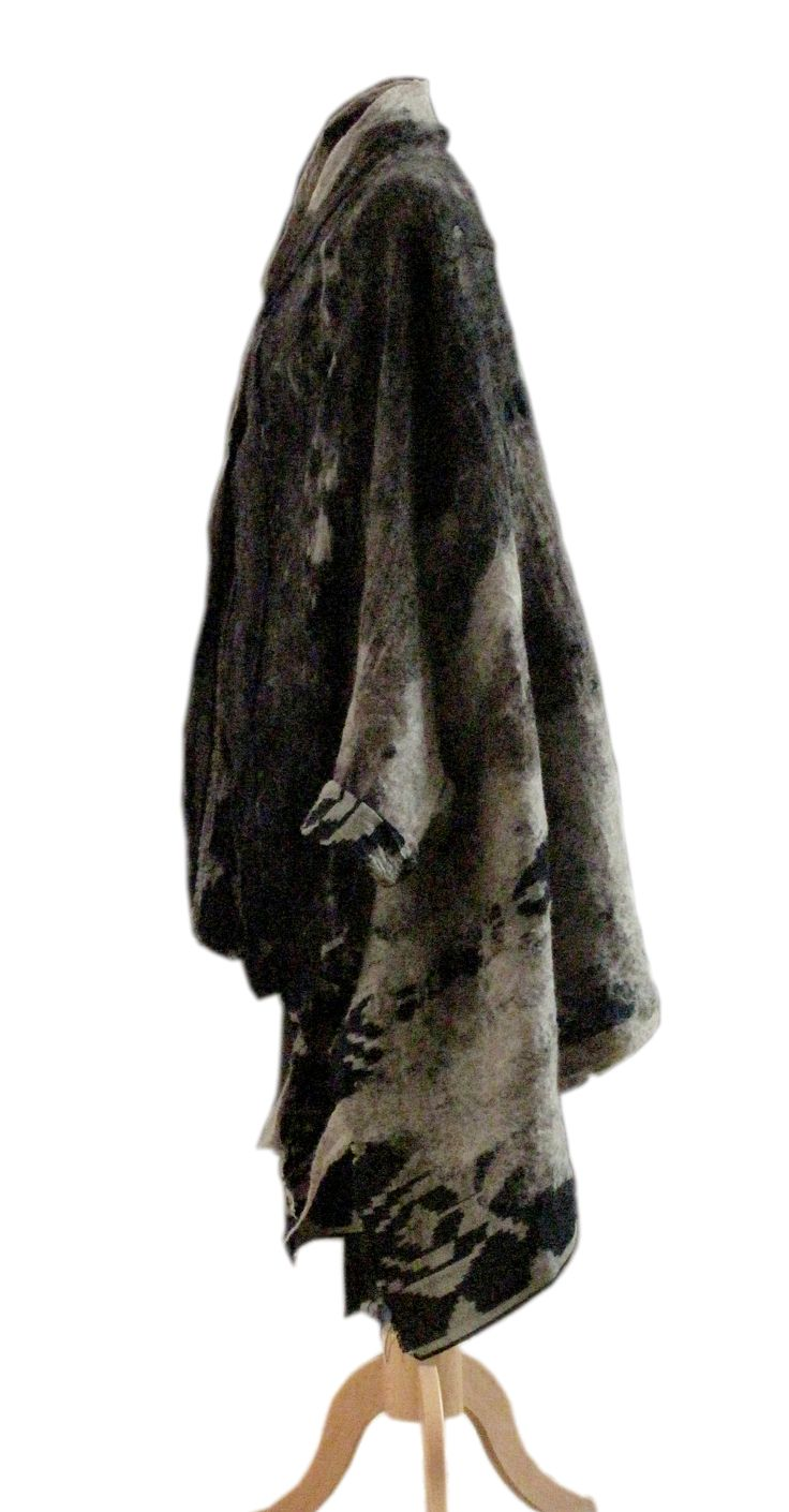 SLOWLAB FIRENZE blanket coat. Nuno felt merino wool on cotton ikat fabric.