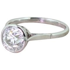 Edwardian 2.00 Carat Old Cut Diamond Platinum Engagement Ring