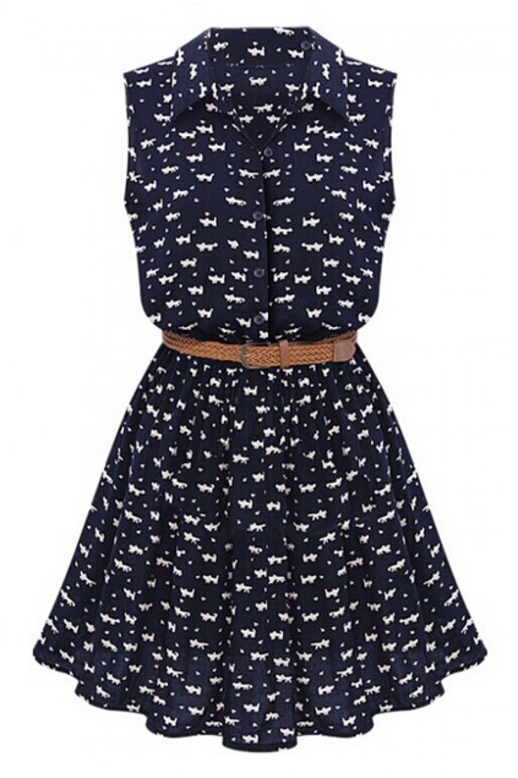 abaday | abaday Little Cats Print Belted Sleeveless Dress, The Latest Street Fashion >> $32