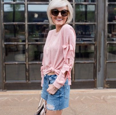 Happy May!! My mom has always told me to keep a few long sleeve items out for the month of May because we get a few chilly days {weird, I know}. When I saw this pink top with bow sleeves {under $50} I knew it would be perfect for the crazy weather this month! 🎀 \\ I have a new obsession with distressed denim shorts & these ones are the perfect pair! They are a little longer & priced at only $55 🙌🏼 \\ Head over to the blog this morning to find out why I'm in love with this look {link in…