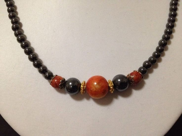 Pre Owned Hematite Beads with Timber Beads Necklace