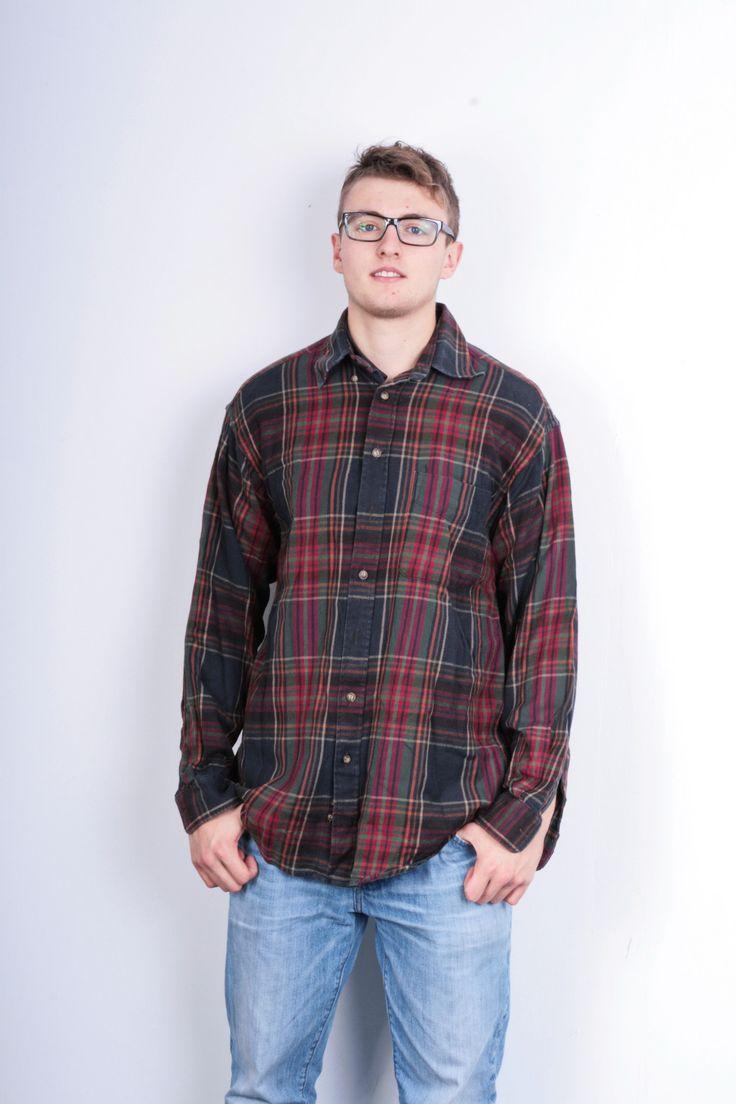 Gant Mens L Flannel Shirt Check Multi Colour Rough Twill Cotton Vintage Flannel