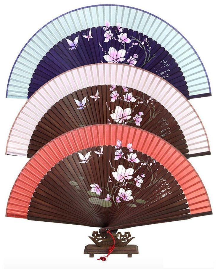 Korea Traditional Oriental Silk Perforated Peony Floral Folding Hand Fan #Handmade #Casual