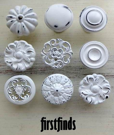 9 Misfit Lg Shabby Chic White Distressed Knobs Kitchen Cabinet Pulls Vintage Hardware Cupboard Handles. $53.00, via Etsy.
