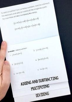 Operations with Complex Numbers Flipbook (Imaginary Numbers too!) - perfect for an Algebra 2 interactive notebook!