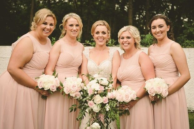 bridesmaids pale blush pink ruched dresses long