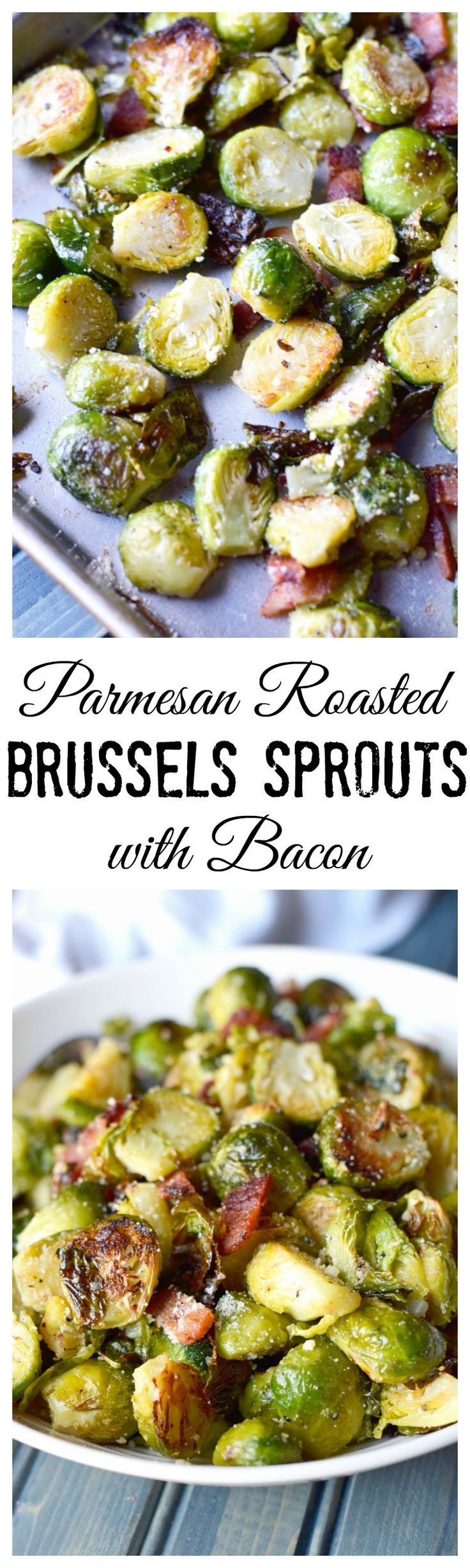 This Roasted Parmesan Brussels Sprouts with Bacon recipe is to die for. Perfect for any Holiday side dish. (Low Carb Christmas Recipes)