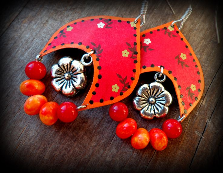 Cute red earrings, tin hoops, country girl jewelry, unique hippie earrings, tin earrings, upcycled vintage, unique artisans jewelry for her by anainc on Etsy https://www.etsy.com/listing/219111302/cute-red-earrings-tin-hoops-country-girl
