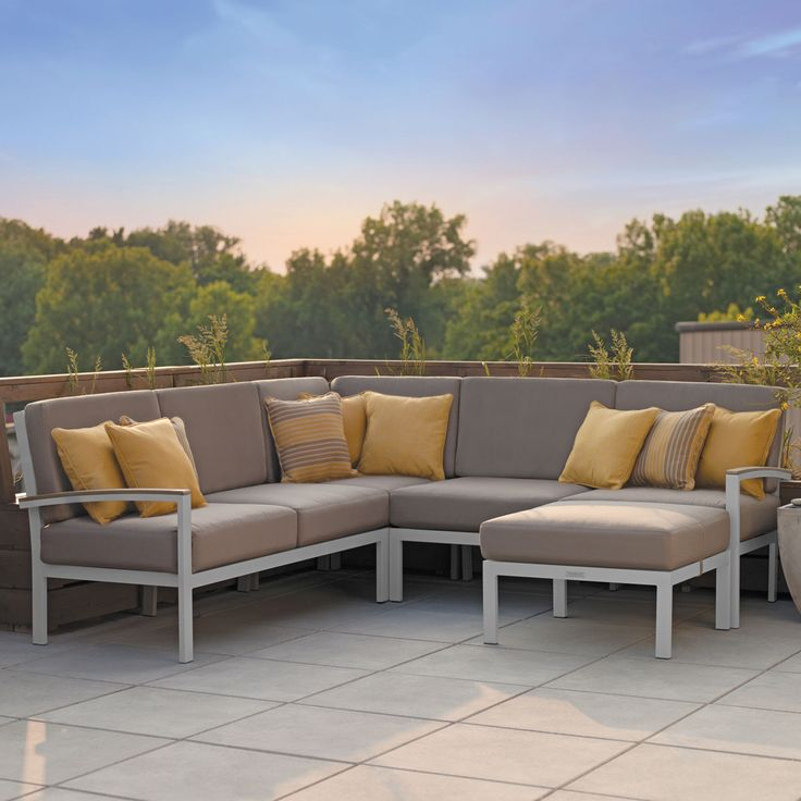 outdoor sectional left tekwood u0026 metal madrone collection - Outdoor Sectionals