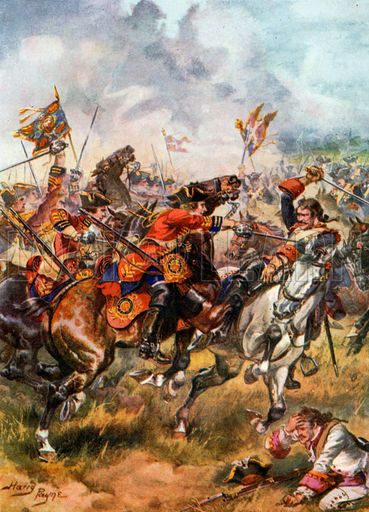 Charge of the Third Dragoons. Battle of Dettingen. Illustration for Glorious Battles of English History (Raphael Tuck, c 1905).