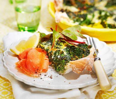 Spenatpaj med rökt lax (Spinach pie with smoked salmon)