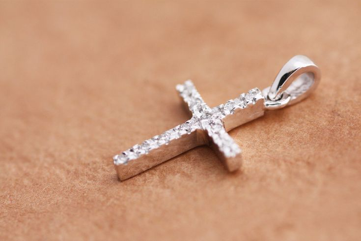 Diamonds Cross pendant in White Gold, Rose Gold or Yellow Gold / Gold Diamond Cross / Gold Cross Pendant / Round Brilliant cut Diamonds by PetrosJewels on Etsy