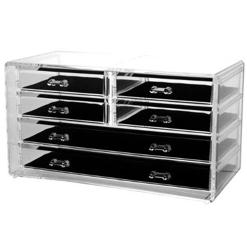 http://103rdavenue.com/acrylic-deluxe-6-drawer-jewelry-chest-2/ Deluxe jewelry chest in includes 6 drawers. Made of acrylic.