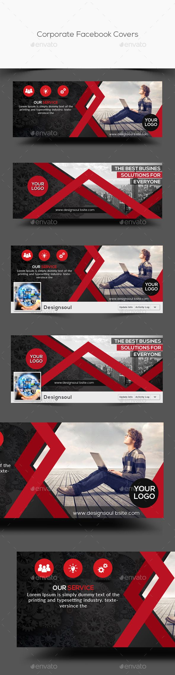 Corporate Facebook Covers Template PSD. Download here: http://graphicriver.net/item/corporate-facebook-covers/14965795?ref=ksioks