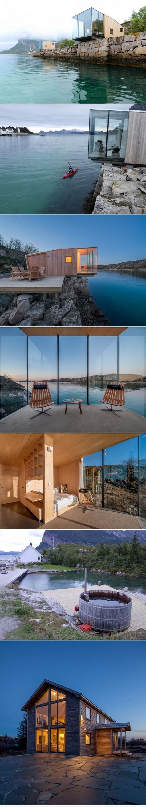Dwell - Have You Ever Wanted to Stay in a Norwegian Sea Cabin? This boutique hotel on Norway's Manshausen Island is made up of four sea cabins that jut out from their natural ledge. Architect Snorre Stinessen carefully positioned them on an existing stone quay and built them to fit two to four travelers, or a family of five. To allow them to cantilever off the edge, their cross laminated timber floor plates are mounted onto two steel beams.