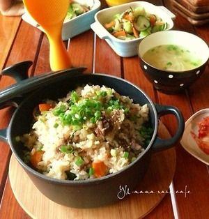 牛肉とニラの焼肉風炊き込みご飯〜焼肉のタレが隠し味〜