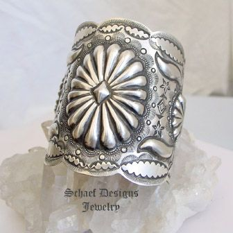 Vincent Platero Stamped Sterling Silver Concho Large Cuff Bracelet   Schaef Designs artisan handcrafted Southwestern, Native American & Equine Jewelry   Online upscale southwestern equine jewelry boutique gallery   New Mexico