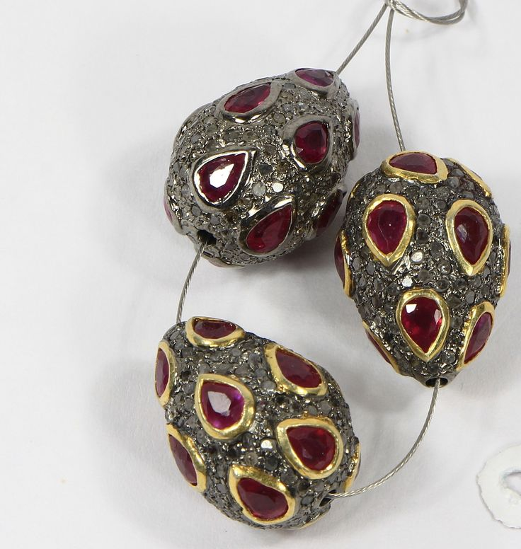 Drop shape Beads in .925 Sterling Silver with Oxidized Pave Diamonds & Ruby