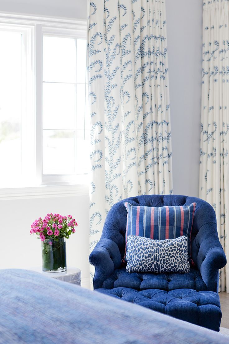 Cobalt blue window treatments - Cobalt Blue Chair With Accent Pillows And Window Treatments Create A Pretty Corner In A Master