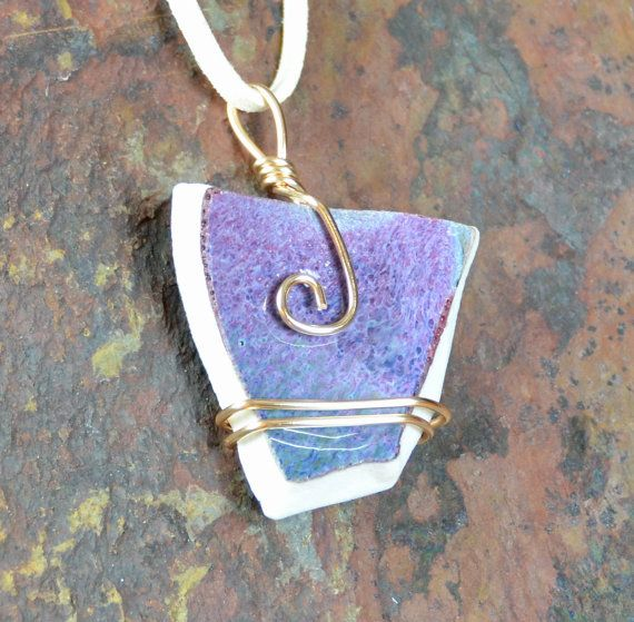 Purple Ceramic Broken Porcelain Necklace, Pendant, Gold Wire Wrapped, Jewelry, Handmade Pottery, Upcycled, Valentine's Gift|Caldwell Pottery