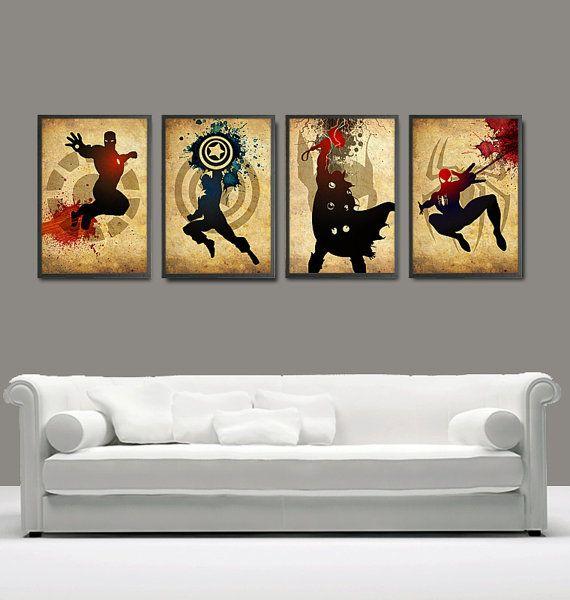 Vintage Minimalist Superheroes Poster Set by MyGeekPosters on Etsy