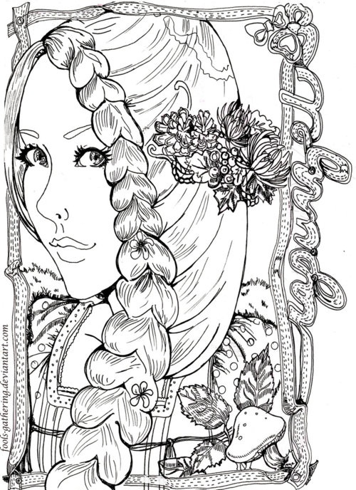 Deviant Art Rapunzel Illustration Makes Me Want To Color Coloring Book PagesColoring